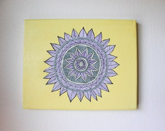 "Mandala Flower Wall Art   Canvas   8""x10"""