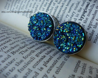 PAIR druzy style plugs sizes 12mm and above.