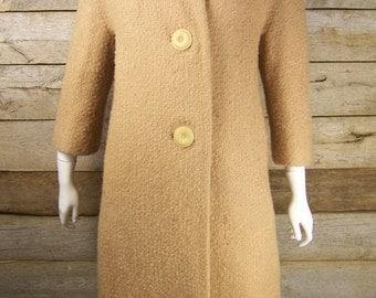 White Mink Collar Light Tan Coat // 1950s Coat Outerwear