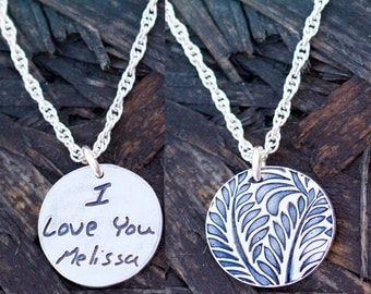 Memorial Jewelry Signature Necklace Your Loved One's Actual Writing or Signature on a Single Sided Silver Pendant - Handwriting Jewelry