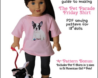 Pixie Faire Peppermintsticks The Pet Parade Friday Shirt Doll Clothes Pattern for 18 inch AG Dolls - PDF