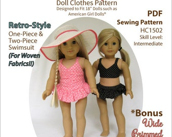 Pixie Faire My Angie Girl Sun Bathing Cutie Doll Clothes Pattern for 18 inch American Girl Dolls - PDF