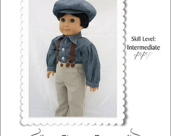 Pixie Faire Kindred Thread Pioneer Boy Doll Clothes Pattern for 18 inch American Girl Dolls - PDF