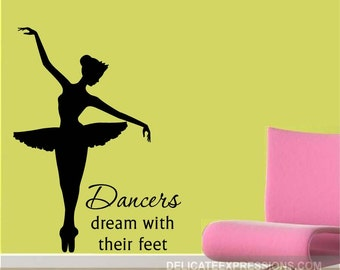 Ballerina Decal - Ballerina Wall Decal Silhouette - Ballet Decal - Ballet Wall Decal - Ballet Decor - Ballerina Decor - Vinyl Decal
