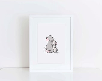Nursery Art - Hugging elephants - baby decor - childrens art print - mummy and baby elephant illustration - kids wall art - baby gift