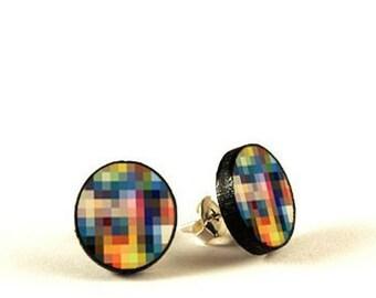 Pixel Prin - handmade stud earrings - decoupage