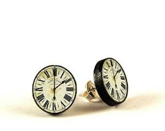 Vintage clock - handmade stud earrings - decoupage