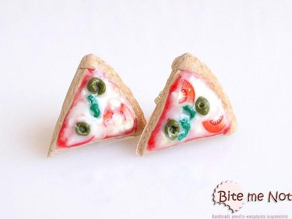 Food Jewelry Pizza Stud Earrings, Mini Food, Pizza Earrings, Italian Food Earrings, Pizza Jewelry, Miniature Food, Faux Food, Kawaii Jewelry