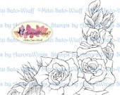 Digital Stamp - Rose Corner Frame - Instant Download - Roses in Corner Arrangement - Floral Line Art for Cards & Crafts by Mitzi Sato-Wiuff