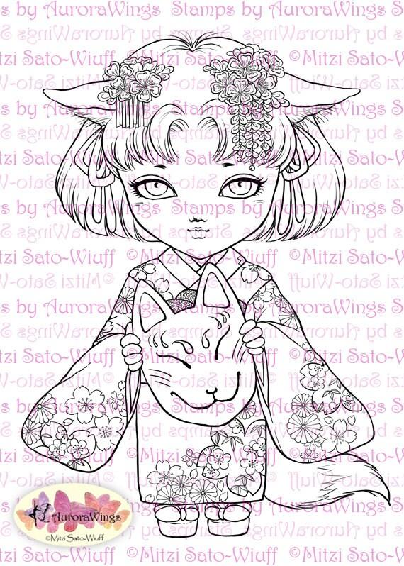 Digital Stamp - Little Kitsune Anko Fancy Version - Japanese Fox Girl in Kimono - Fantasy Line Art for Cards & Crafts by Mitzi Sato-Wiuff