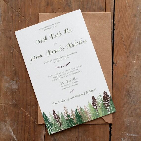 Wedding Invitation, Tree Wedding Invitation, Mountain Wedding Invitation, rustic wedding invitation, wedding invitation, trees  - The Katie