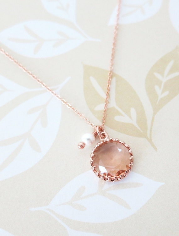 Rose Gold Champagne Glass drop Necklace - pearl, gifts for her, round, Wedding Bridesmaid bridal shower gifts, pink rose gold weddings