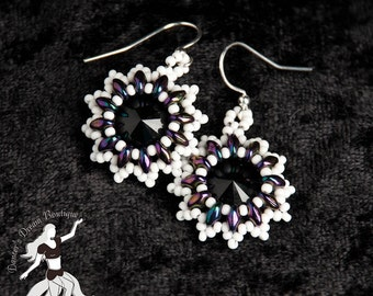 Black Ice Swarovski Crystal Rivoli Earrings