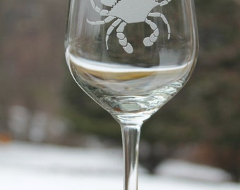 Crab wine glasses, Etched wine glasses, maryland crab, 12oz - Etched Wine Glass, Wine Glass, Etched, Wine Glass, Maryland bue crab, etched w