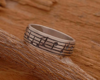 Sterling Silver Music Note Ring, Music Ring,  Mens Ring, Note Ring, Music Lover Gift DA27