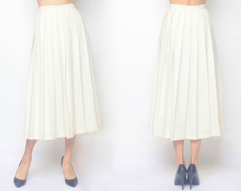 MURRAY HILL White Pleats Long Skirt