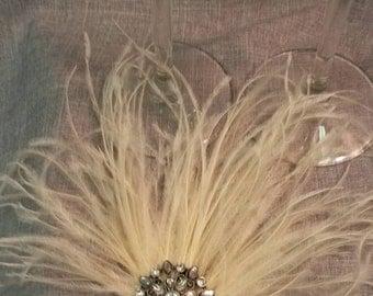 Pale Peach Ostrich Feather Hair Accessory