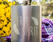Free Spirit Feathers Customizable Etched Stainless Steel Flask/ Flask Giftset Barware Gift
