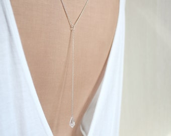 Back Necklace, Backdrop Necklace, Back Chain, Swarovski Silver Wedding Jewelry, Bridal Back Drop Necklace - m i n i m a l