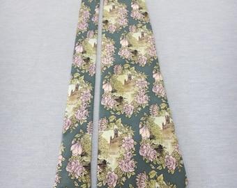 Karl Lagerfeld Silk Necktie FLoral Castle Mirror Tie C