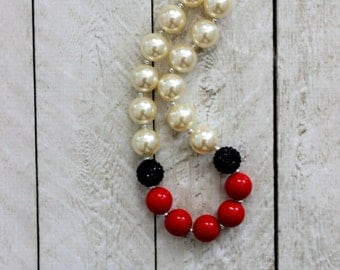 girl chunky bead bubblegum necklace red black cream christmas necklace for girls birthday necklace country cowgirl necklace pearl rhinestone