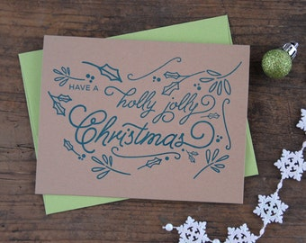 Have a Holly Jolly Christmas Letterpress Greeting Card