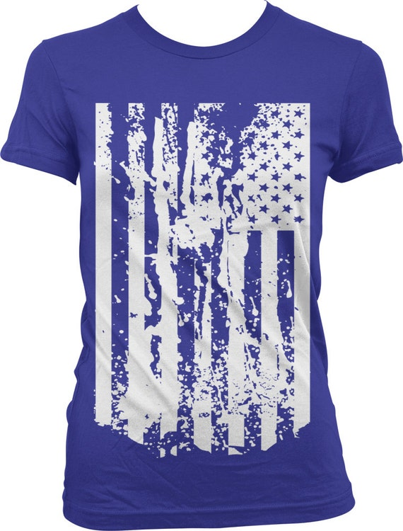 Tattered american flag ladies t shirt faded u s a flag for Ladies american flag t shirt