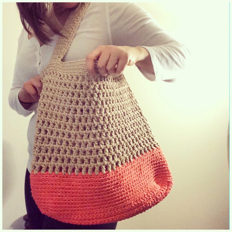 Crochet Summer Bag : SALE Summer Tote Bag Crochet Market Bag Beach Bag by WoodsyCottage