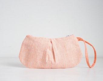 Oranje linnen schoudertasje gestreept linnen koppeling, Pleated avond portemonnee, linnen schoudertasje