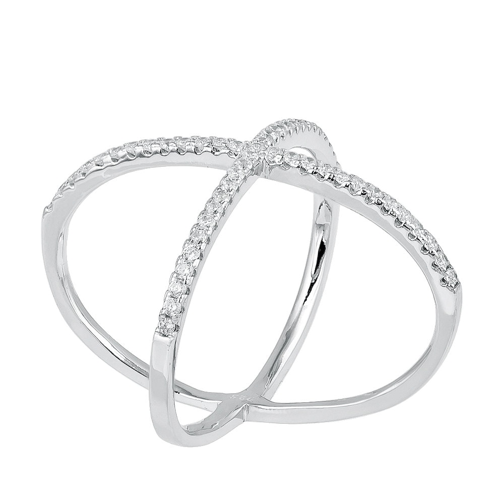 925 sterling silver criss cross knuckle ring with prong set