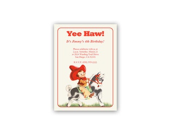 Digital Cowboy Birthday Party Invitation / Your Child's Info / editable PDF / add your text then print / retro boy on horse