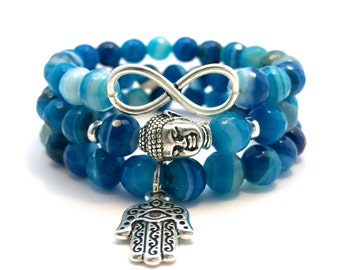 Blue Striped Agate Bracelets