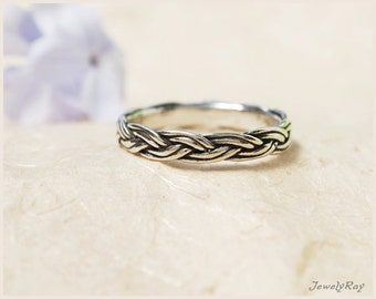 Braided silver ring, Thin Silver ring, Silver thumb ring, Thin stacking ring, Thin braided ring, Unique friendship ring, Thin everyday ring