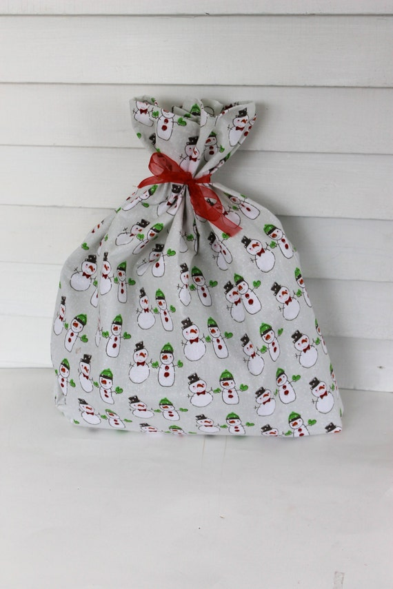 Medium  fabric gift bag,  sparkle snowman gift  bag, snowman gift wrap bag, reusable  gift bag, Christmas gift bag