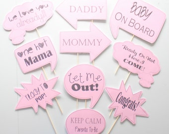 10pc * Baby Shower Photo Booth Speech Bubbles/Colored Photobooth Props - CUSTOM OPTIONS AVAILABLE