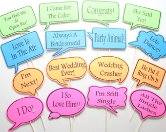 16pc * Wedding Photo Booth Speech Bubbles/Colored Cardstock Photobooth Props/Rhinestone Embellished - CUSTOM OPTIONS AVAILABLE