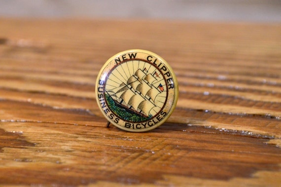 Antique Bicycle Pin Advertising, New Clipper Business Bicycles, Early 1900s Celluloid Pin Back Advertising Button