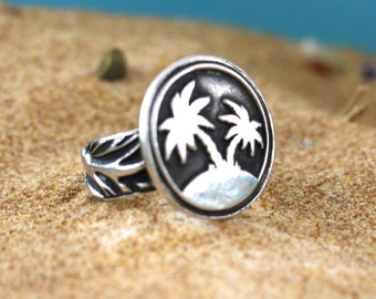 SUMMER RING, PALM Tree Jewelry, Summer Jewelry, Ocean Jewelry, Summer Gift, Beach Ring, Beach Jewelry, Palm Tree Jewelry, Summer Gift