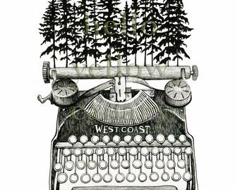 West Coast Type - Original Illustration Print by Danielle Brufatto