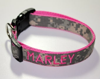 """1"""" Embroidered Dog Collar in Army, Navy, Marines, Air Force & Mossy Oak"""