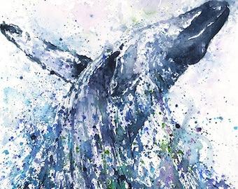 HUMPBACK WHALE ART - watercolor whale painting, whale print, whale decor, whale wall art, whale gift, sea life art, sea animal decor