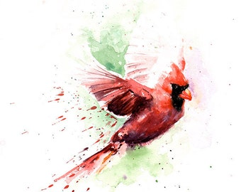 CARDINAL BIRD PAINTING - red cardinal art, cardinal gift, cardinal decor, cardinal wall art, bird gift, animal home decor