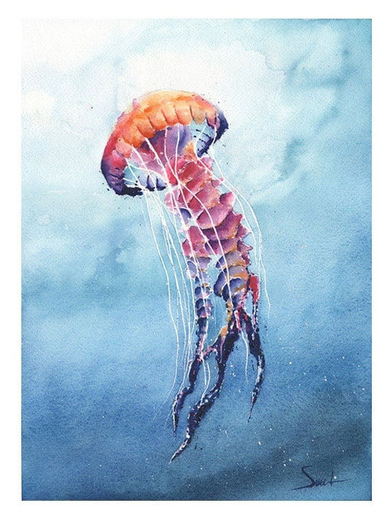 Jellyfish art print watercolor jellyfish painting jellyfish for Sea life paintings artists