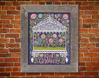 Folk Art Floral Botanical Print Quote in Polish Wycinanki Flower Papercut Style Gift 8 x 10 or 11 x 14 Keep Growing