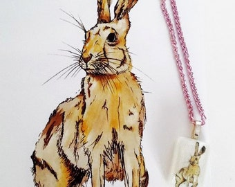 Watercolour & pen Rabbit Print Illustration and Matching Resin Necklace on Pink Chain