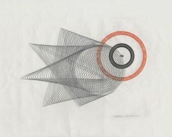 Pencil Drawing, Original Artwork, Orange and Black, Minimal Geometric Circles, Paper Collage & Ink 11x14