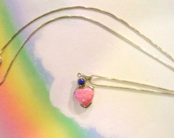 Vintage Southwestern Style Heart  Rose Quartz and Lapis Lazuli Pendant Necklace 925