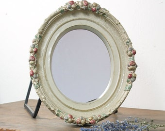 Victorian Mirror / Antique Chalkware Mirror / Oval Hanging Wall Mirror with Fruit & Flower Frame