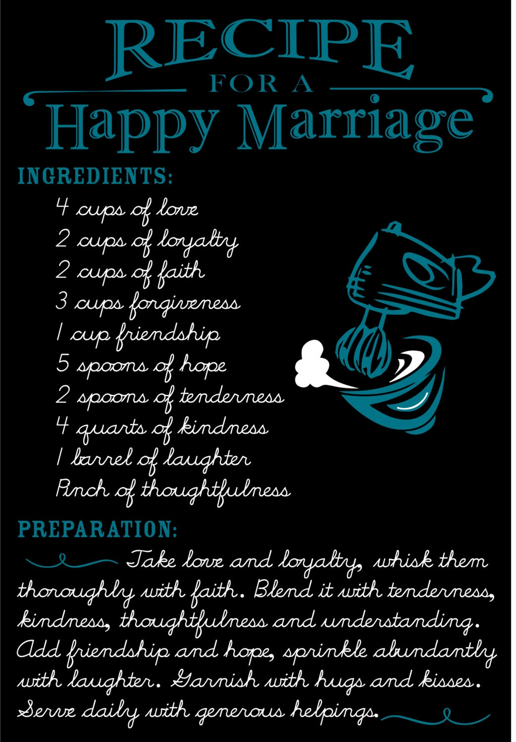 This is a graphic of Gargantuan Recipe for a Happy Marriage Printable