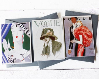 Vogue Magazine Cover -  Fashion Illustration -  Set of 3 Cards with envelopes - A32